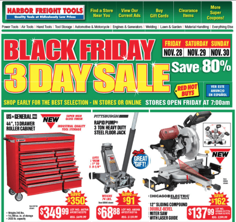Harbor Freight Tools black friday ad scan - page 1