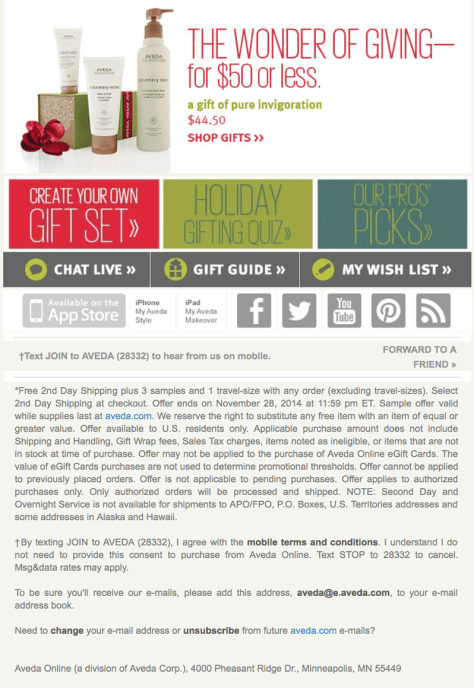 Aveda black friday ad scan - page 2