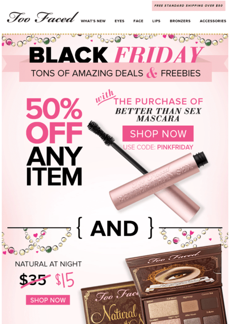 Too Faced black friday ad scan - page 1