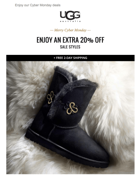 UGG Cyber Monday 2015 Ad - Page 1