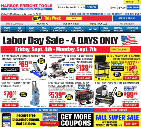 Harbor Freight Tools Labor Day Sale 2015 - Page 1