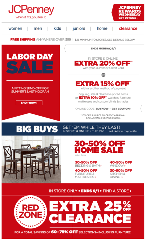 JC Penney Labor Day Sale - Page 1