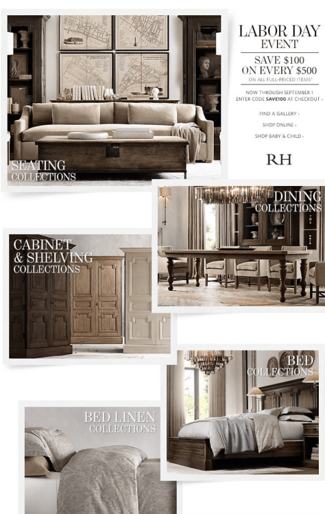Restoration Hardware Labor Day Sale - Page 1