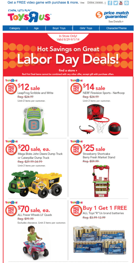 Toys R Us Labor Day Sale - Page 1