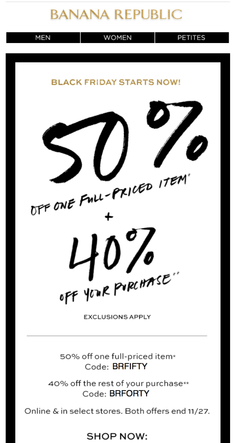 Banana Republic Black Friday Ad - Page 1