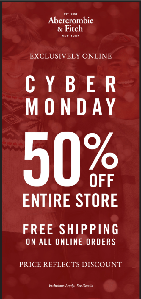 Abercrombie and Fitch Cyber Monday Ad - Page 1