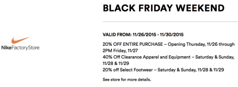 Nike Outlet Black Friday 2015 Flyer - Page 1