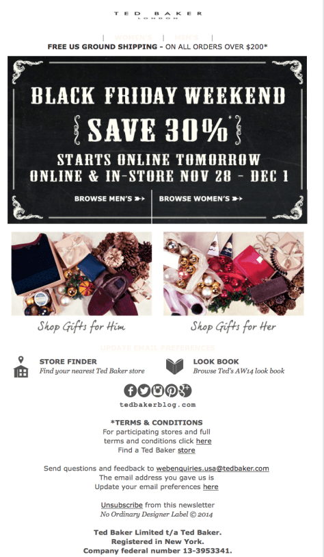 Ted Baker Black Friday Ad - Page 1