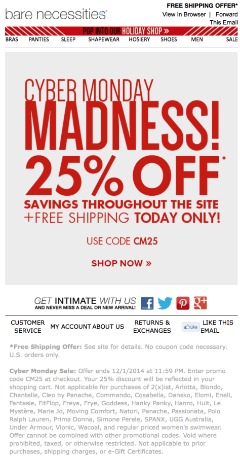 Bare Necessities Cyber Monday Ad - Page 1