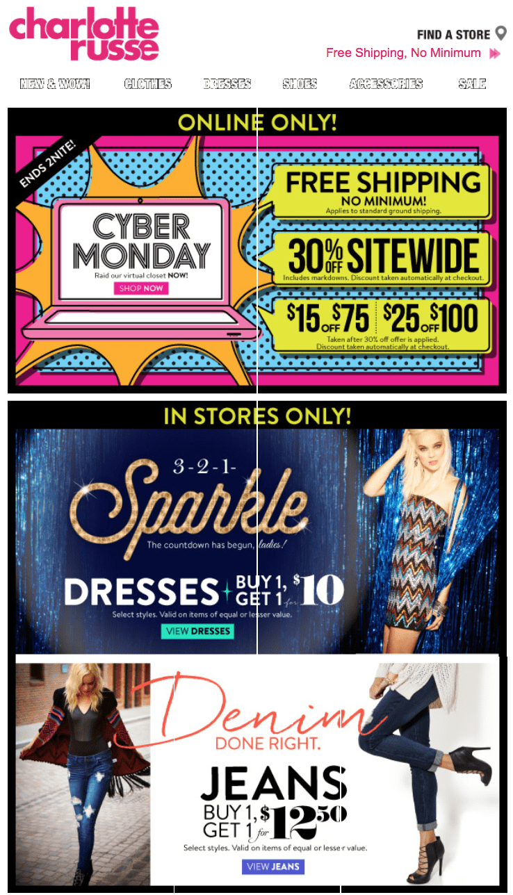 charlotte russe cyber monday deals
