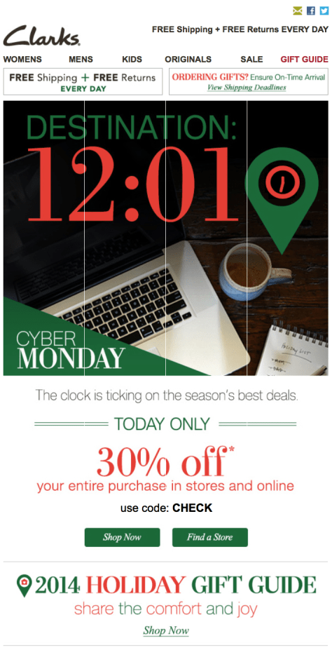 Clarks Cyber Monday Ad - Page 1