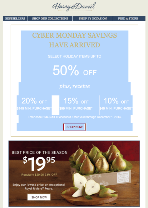 Harry and David Cyber Monday Ad - Page 1
