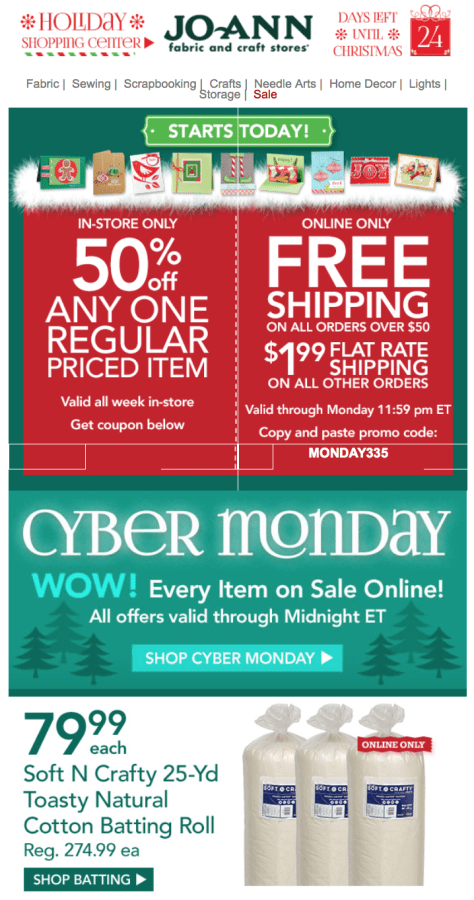 Jo Ann Fabrics Cyber Monday Ad - Page 1