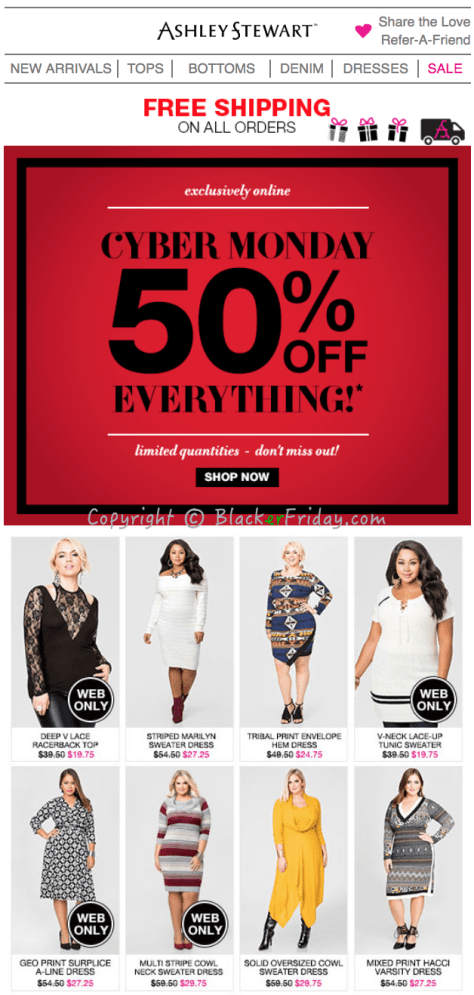 Ashley Stewart Cyber Monday Ad Scan - Page 1