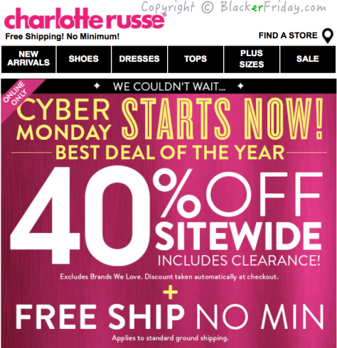 Charlotte Russe Cyber Monday Ad Scan - Page 1