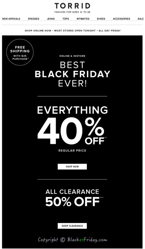 Torrid Black Friday Ad Scan - Page 1