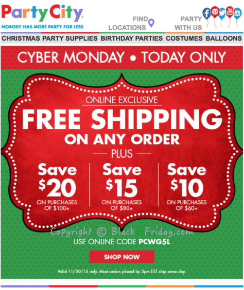Party City Cyber Monday Ad Scan 2016 - Page 1