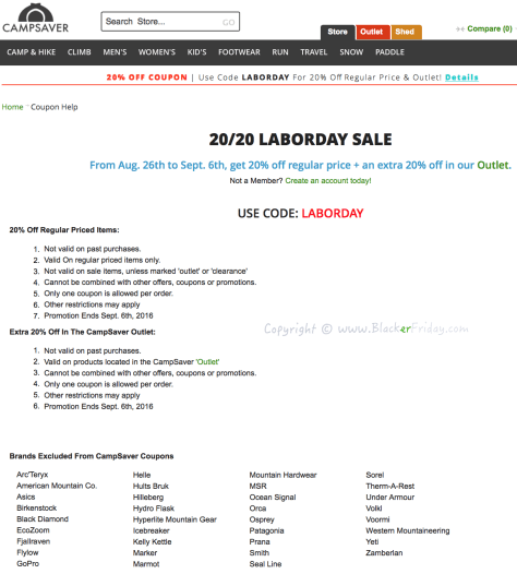 Camp Saver Labor Day 2016 Sale - Page 1