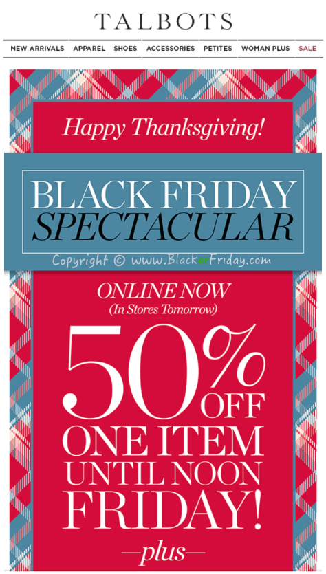 Talbots Black Friday Sale Ad Scan - Page 1