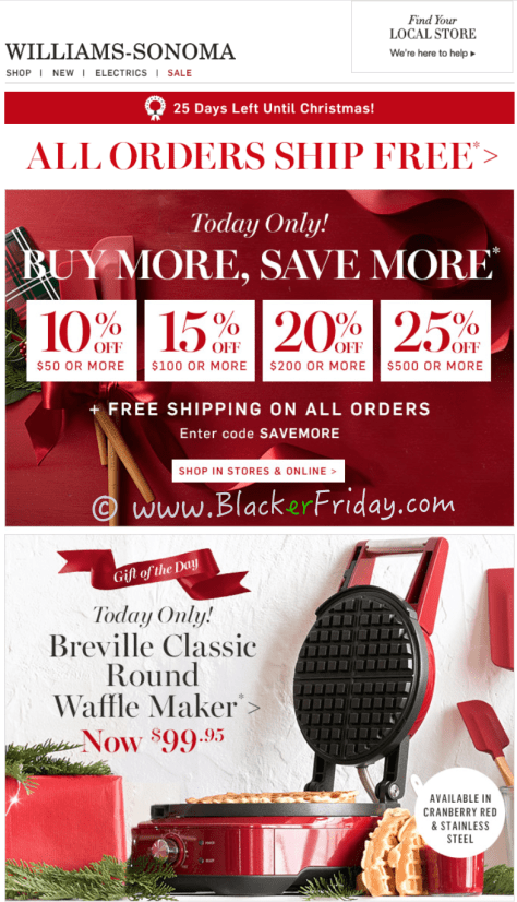 Williams Sonoma Cyber Monday Sale Ad Scan - Page 1