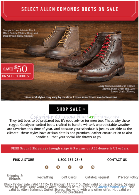 Allen Edmonds Black Friday Sale Flyer - Page 2