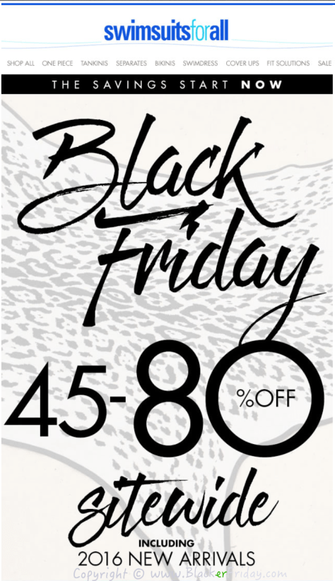 Swimsuits for All Black Friday Sale Ad Flyer - Page 1