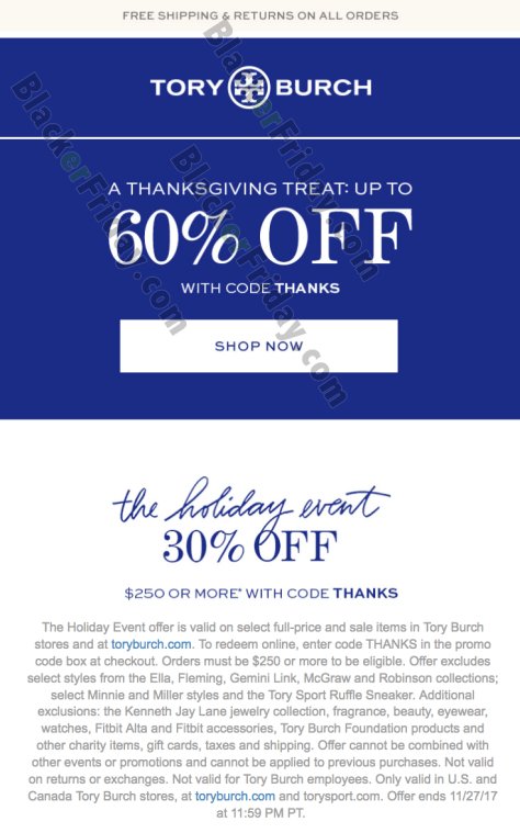 816f350e21ac Offer excludes Tory Burch Outlet locations. Sale ends on Cyber Monday  (that s November 27th at 11 59PM PST). Have a nice Thanksgiving!