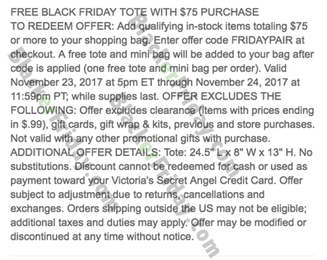 1fbecdbdf7 Victoria s Secret Black Friday 2019 Sale   Free Tote Bag ...