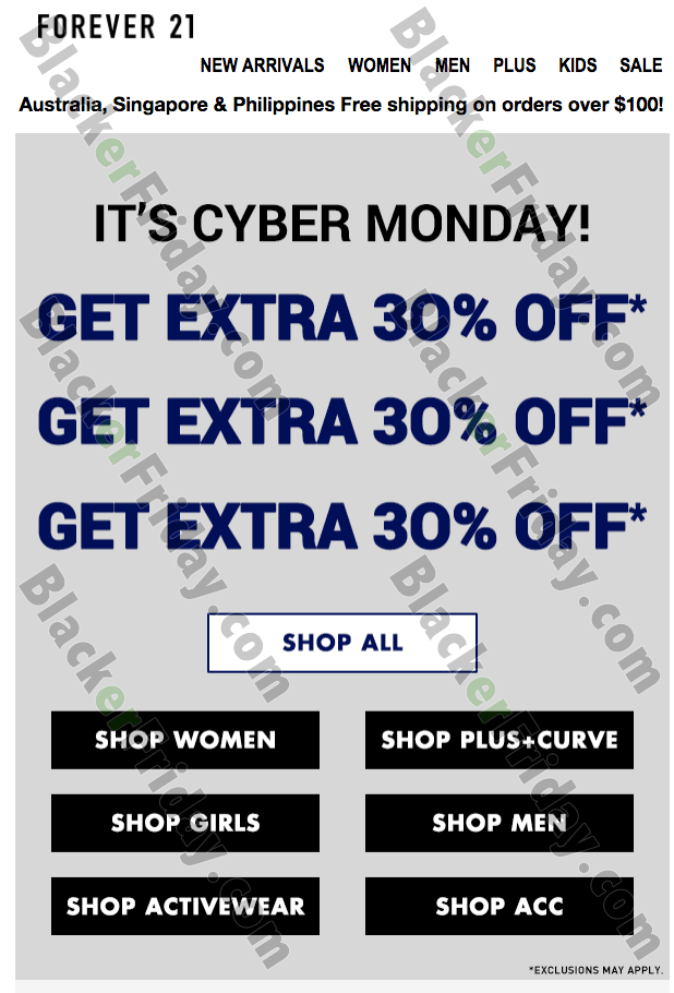 cyber monday deals forever 21 2019