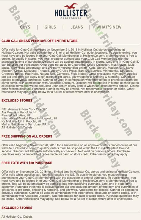 Hollister Black Friday 2019 Sale & Deals - BlackerFriday com