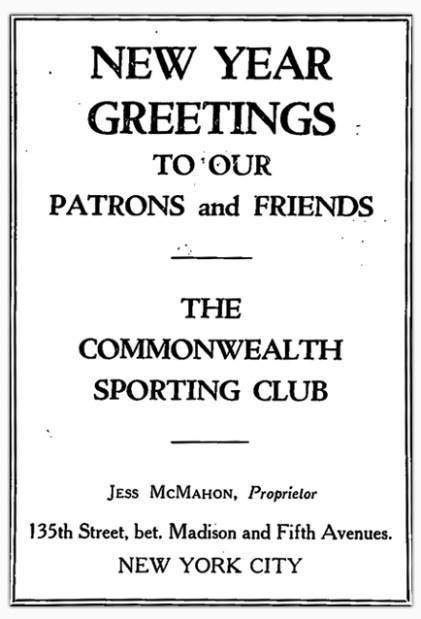 Commonwealth Sporting Club advertisement