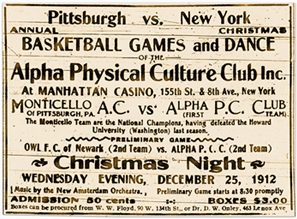 Advertisement, basketball games and dance, featuring the Alpha Physical Culture Club vs. the Monticello Athletic Association, 1912.