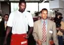 Hakeem Olajuwon (left) with Claude Johnson in Munich, 1995.