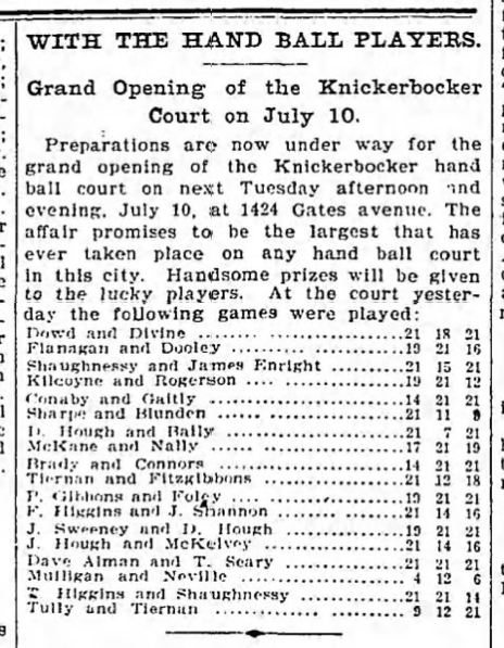 Knickerbocker Handball Opening