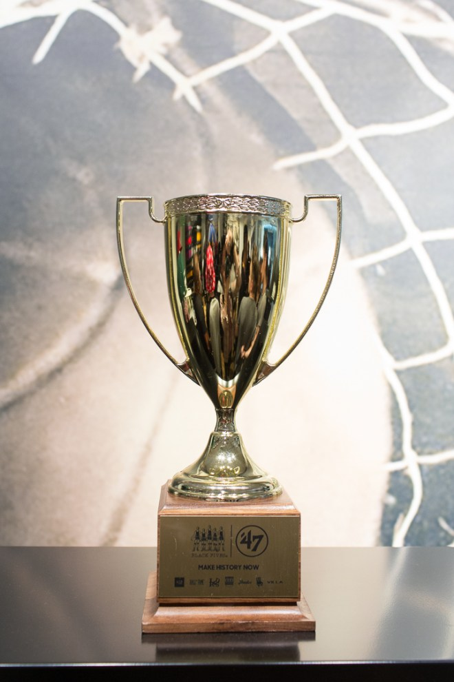 """Black Fives """"Make History Now"""" Trophy at Apparel Collection's London Launch Party"""