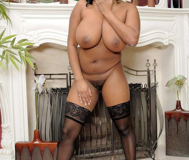 Ebony Woman In Stockings With Huge Tits