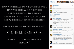Beyonce Wishes Michelle a HBD