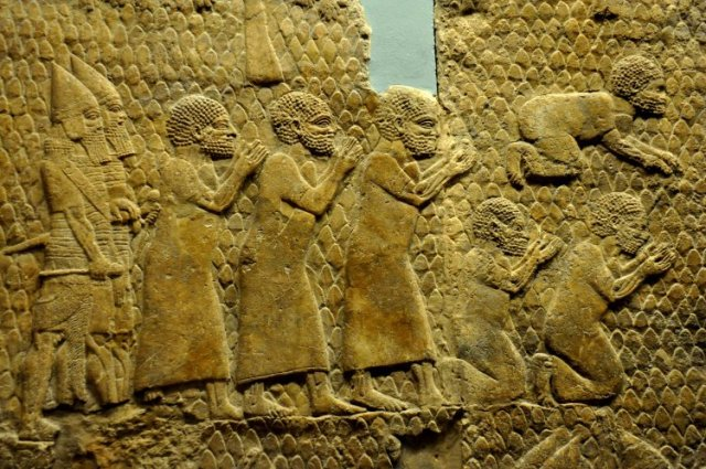 From the South-West palace at Nineveh (modern Kuyunjik, Mousil city, Iraq), room XXXVI, panels 11-13. Mesopotamia, Neo-Assyrian era, 700-692 BCE. (The British Museum, London).