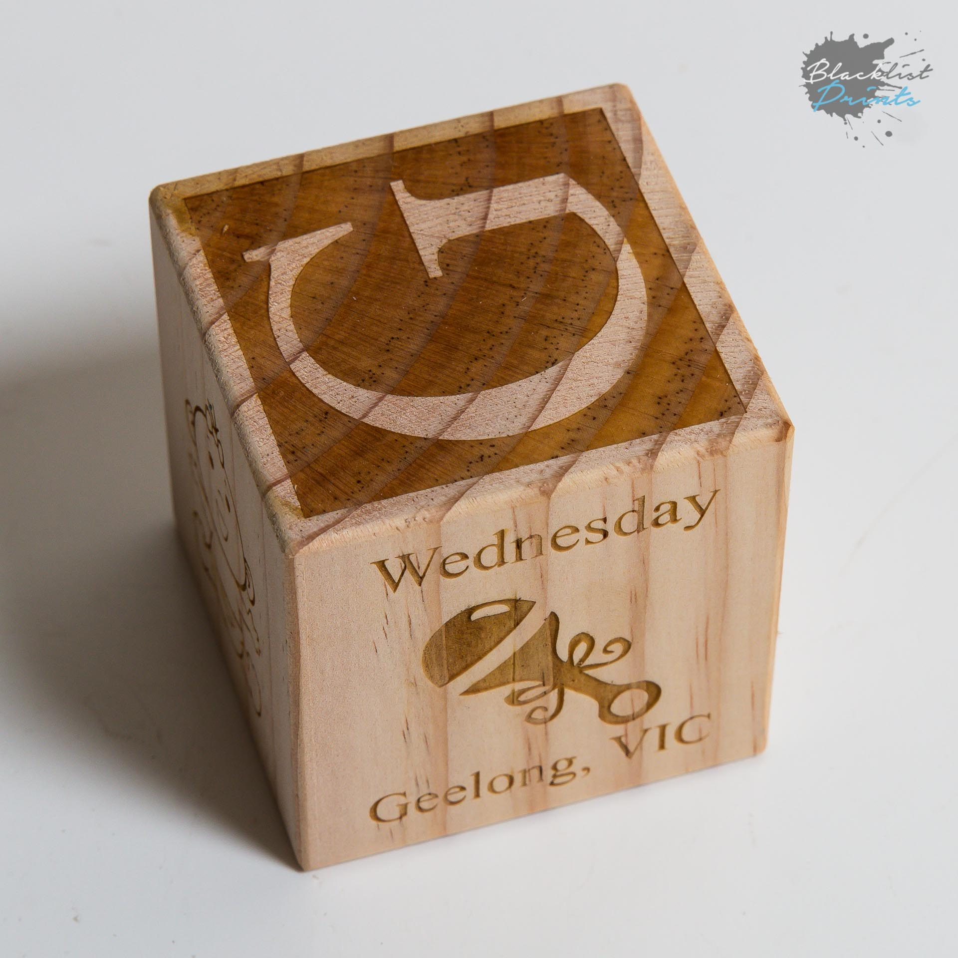 Engraved New Newborn Baby Block Gift LARGE SIZE