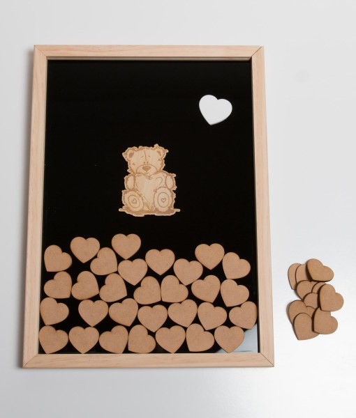 Teddy Heart shadow Guest Book