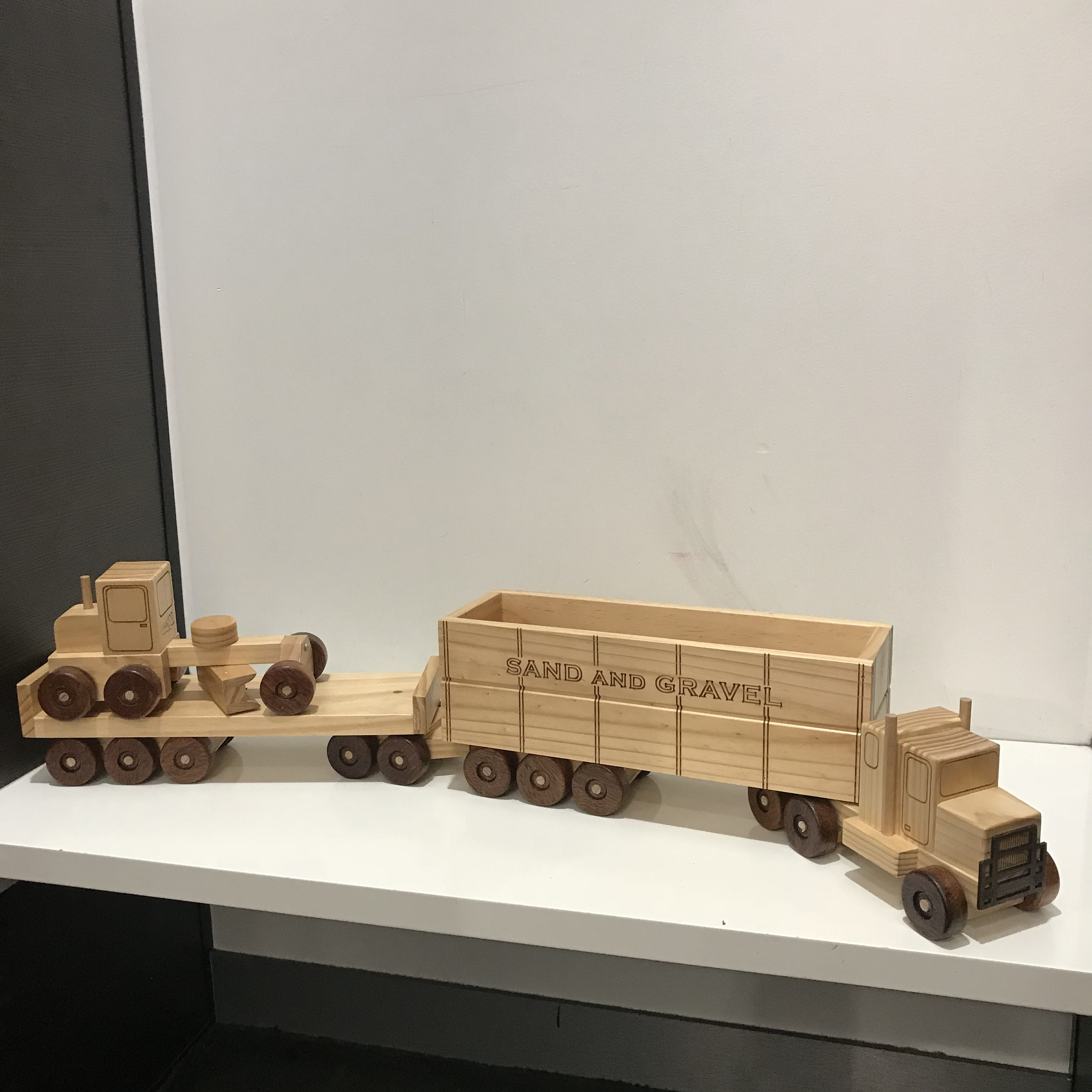 bbdcc737a4c Wooden Toy Truck Road Train Trailer and Flat Trailer with Grader ...