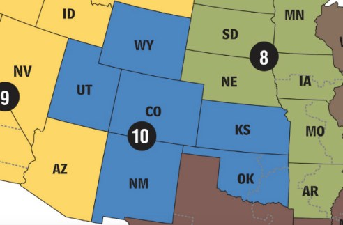 Map of Jurisdiction of U.S. Court of Appeals for the 10th Circuit