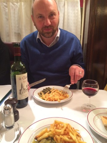 Happy husband in Le Relais de Venise