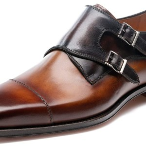 Magnanni Jaden Cuero and Brown Men's Monk Strap Shoes