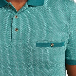 Harbor Bay DXL Dotted-Diamond Print Banded-Hem Polo Shirt
