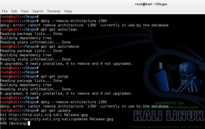 18 - Install Skype in Kali Linux - autoremove autoclean purge - blackMORE Ops