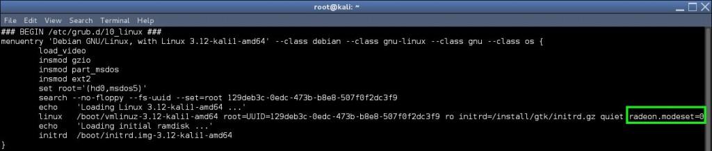 grub.cfg - Install AMD ATI proprietary driver (fglrx) in Kali Linux 1.0.6 running Kernel version 3.12.6 - blackMORE Ops