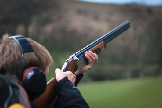 clay pigeon shooting photo closeup