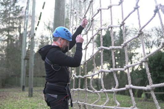 high level ropes course cargo net
