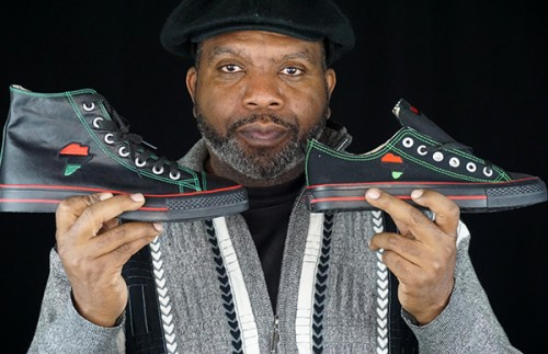 Tariq Edmonson, with custom African sneakers